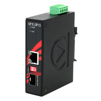 Compact Industrial Gigabit PoE+ Ethernet-to-Fiber Media Converter, 1*10/100/1000TX (PSE: 30W) to 1*100/1000 SFP Slot; EOT: -40° to 80°C